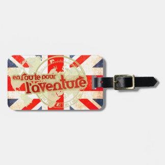 en route pour l'aventure british flag luggage tag