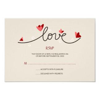En texte élégant simple d'amour épousant RSVP Carton D'invitation 8,89 Cm X 12,70 Cm