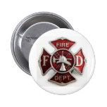 'enamel' fire dept insignia 2 inch round button