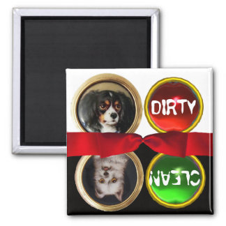 ENAMEL MINIATURE DOG PORTRAITS DIRTY CLEAN MAGNET