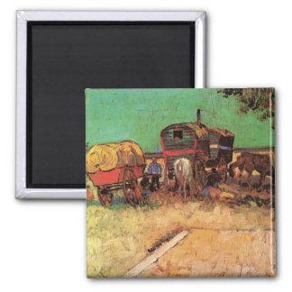 Encampment of Gypsies Caravans by Vincent van Gogh Magnet