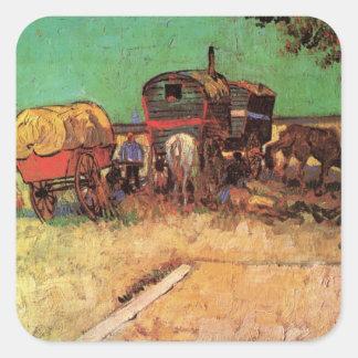 Encampment of Gypsies Caravans by Vincent van Gogh Square Sticker