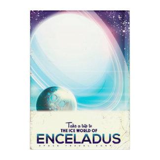 Enceladus Space travel vintage poster Acrylic Wall Art