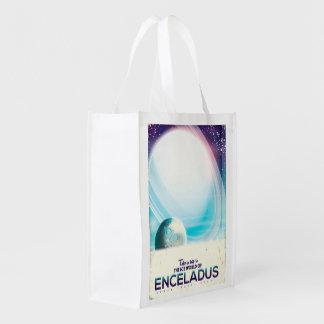 Enceladus Space travel vintage poster Reusable Grocery Bag