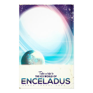 Enceladus Space travel vintage poster Stationery