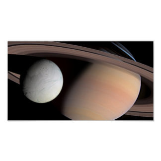 Encephaladus and Saturn Poster