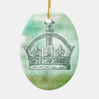 Enchanted and Whimsical Crown Design Ceramic Oval Ornament