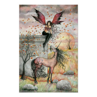 Enchanted Autumn Fairy Unicorn Art Poster