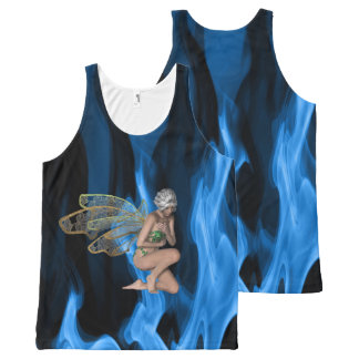 Enchanted Blue Flames All-Over-Print Tank Top