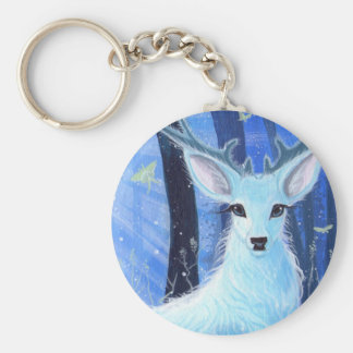 """Enchanted by Moonlight"" White Stag Keyring Basic Round Button Keychain"