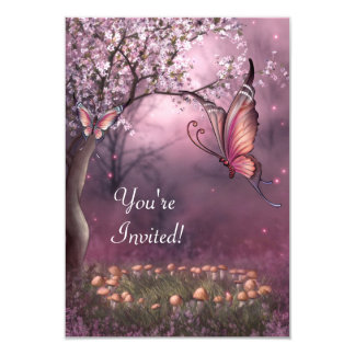 """Enchanted Cherry Blossom Garden Butterfly Event 3.5"""" X 5"""" Invitation Card"""