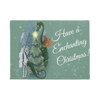 Enchanted Christmas Tree Gathering Doormat