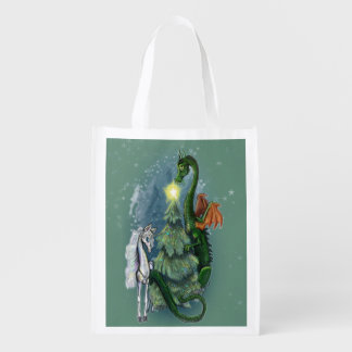Enchanted Christmas Tree Gathering Reusable Grocery Bag