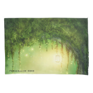Enchanted Dreamy Forest & Lights Rustic Custom Pillowcase