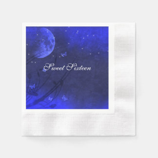 Enchanted Evening Blue White Sweet Sixteen Custom Paper Napkin