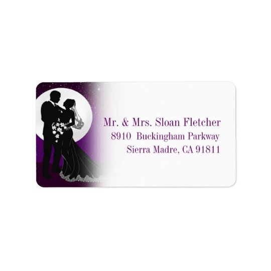 Enchanted Evening Nighttime Wedding Label | Purple