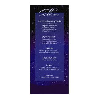 "Enchanted Evening Nighttime Wedding Menu 4"" X 9.25"" Invitation Card"