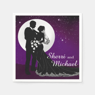 Enchanted Evening Nighttime Wedding | purple Disposable Napkin