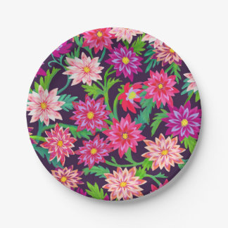 Enchanted Floral Garden Pink Paper Plates 7 Inch Paper Plate