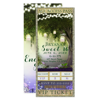 Enchanted Forest Access VIP Sweet 16 Party Ticket Card