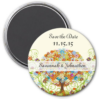 Enchanted Forest Circle of Love Wedding Tree 3 Inch Round Magnet