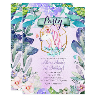 Enchanted Forest Fantasy Magical Unicorn Party Card