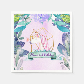 Enchanted Forest Fantasy Magical Unicorn Party Disposable Napkins
