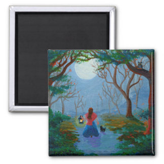Enchanted Forest Girl Black Cat Creationarts Magnet