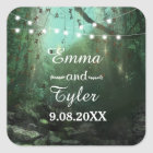 Enchanted Forest Lights Rustic Save the Date Square Sticker