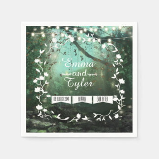 Enchanted Forest Lights Rustic Wedding Napkins Disposable Napkin