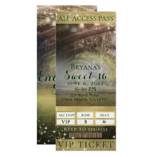 Enchanted Forest Lights VIP Sweet 16 Party Ticket Card