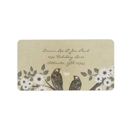 Enchanted Forest Love Bird Wedding Label