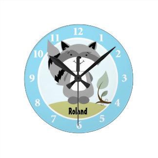 Enchanted Forest Raccoon Wall Clock