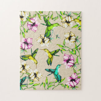 Enchanted Garden Watercolor Hummingbirds & Flowers Jigsaw Puzzle
