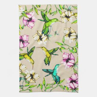 Enchanted Garden Watercolor Hummingbirds & Flowers Kitchen Towel