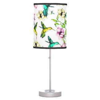 Enchanted Garden Watercolor Hummingbirds & Flowers Table Lamp