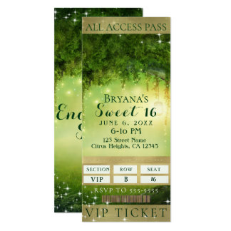 Enchanted Green Forest VIP Sweet 16 Party Ticket Card