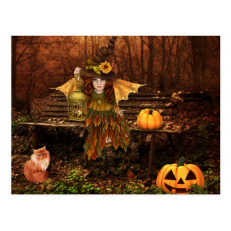 Enchanted Halloween Postcard with Woodland Fairy