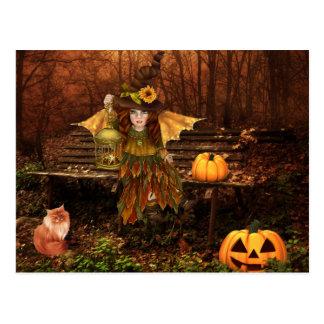 Enchanted Halloween Postcard with Woodland Fairy