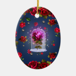 Enchanted Magical Red Rose Beauty & The Beast Ceramic Ornament