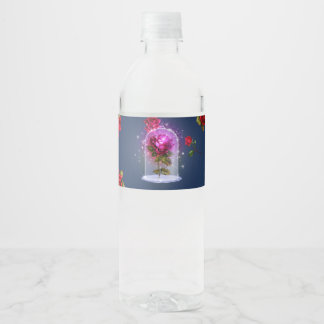 Enchanted Magical Red Rose Beauty The Beast Party Water Bottle Label