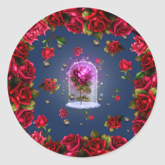 Enchanted Magical Red Rose Blue Floral Bling Party Classic Round Sticker