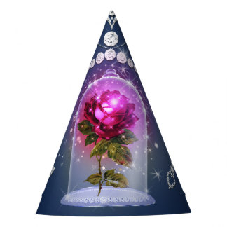 Enchanted Magical Red Rose Blue Floral Bling Party Party Hat