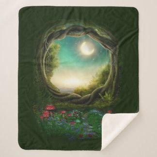 Enchanted Moon Tree Medium Sherpa Fleece Blanket