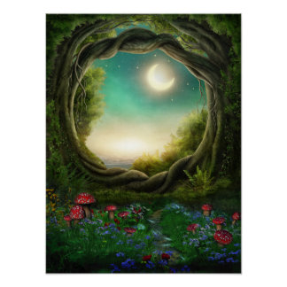 Enchanted Moon Tree Poster
