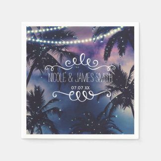 Enchanted Night Sky Evening Beach Lights Wedding Paper Napkins