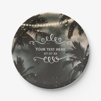 Enchanted Night Sky Palm Trees & String Lights 7 Inch Paper Plate