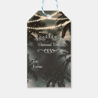 Enchanted Night Sky Palm Trees & String Lights Pack Of Gift Tags