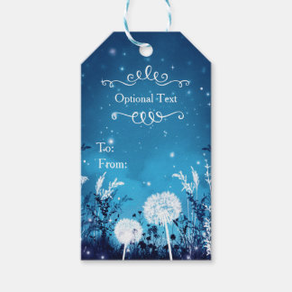 Enchanted Night Sky Stars & Foliage Blue Wedding Pack Of Gift Tags