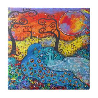 Enchanted Peacocks Art Tile